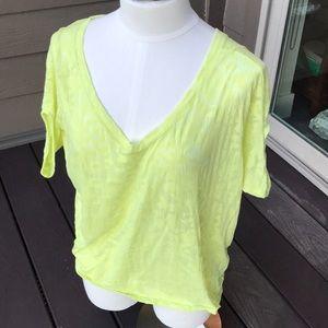 Express sheer button back green v neck blouse